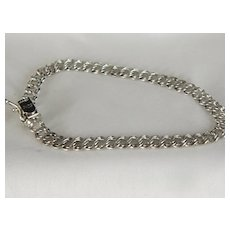 Vintage Double Link Sterling Silver Chain Bracelet 7 Inch.