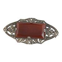Vintage Carnelian Sterling Silver Art Deco Style Brooch