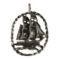 Vintage Sterling Silver Yankee Clipper Ship Pendant