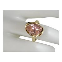 Vintage Fancy Gem Cut Pink CZ  Set In 10 K Yellow Gold Custom Designer Ring Setting