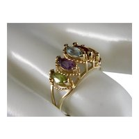 Vintage Genuine 5 Gemstone 14 K gold Multi Stone Ring
