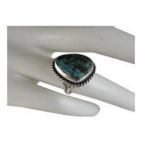Vintage Navajo Sterling Silver Kingman Turquoise Ring