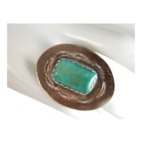Vintage Navajo Large And Bold Estate Royston Green Turquoise And Sterling Silver Concho Ring