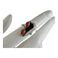Vintage Southwestern Navajo Sterling Silver and Red Coral Ring