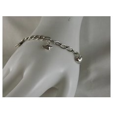 Vintage Sterling Silver Charm Bracelet 7 Inch