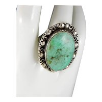 Beautiful Carico Lake Turquoise And Sterling Silver Large Bold Vintage Ring Size 9