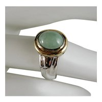 Beautiful Vintage Sterling Silver Vermeil Jade Green Chrysoprase Ring Size 6
