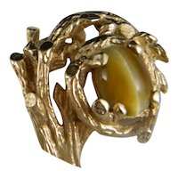 Vintage Big Bold 14 K Yellow Gold Cocktail Tiger's Eye Ring