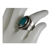Vintage Navajo Blue Green Royston Sterling Silver Ring Size 7.5