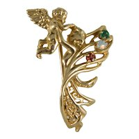 Vintage 14 K Yellow Gold Angel And Baby Gemstone Brooch pin