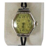 Rare Vintage Art Deco Ladies Waltham 14 K White Gold Wristwatch
