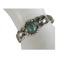 Vintage Sterling Silver Royston Green Turquoise Fred Harvey Era Bracelet