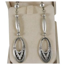 Vintage Large Hopi Overlay Style Sterling Silver Earrings 3 Inch Dangle