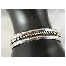 Vintage 1970's Sterling Silver Navajo Cuff Bracelet