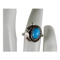 Vintage Delicate Sterling Silver Navajo Turquoise Ring