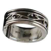 Vintage Sterling Silver Scroll Spinner Ring Size 6