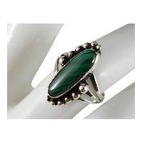 Vintage Southwest Sterling Silver Malachite Ring Size 6 1/2