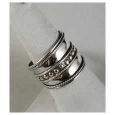 Vintage 17 MM Wide Sterling Silver Decorated Cigar Style Band Size 8
