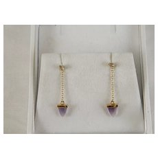 Beautiful Vintage 14 K Gold Champagne Diamond And Amethyst Dangle Earrings
