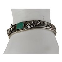 Vintage Southwestern Sterling Silver Royston Green Turquoise Bracelet