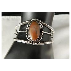 Vintage Bell Trading Harvey Era  Petrified Wood And Sterling Silver Bracelet
