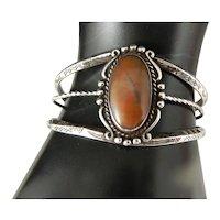 Vintage Bell Trading Harvey Era  Petrified Wood And Sterling Silver Bracelet