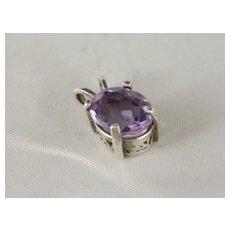 Vintage Beautiful Oval 1.75 Carat Lilac Amethyst Filigree Pendant