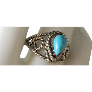 Vintage 1960's Southwest Turquoise Sterling Silver Ring Size 8