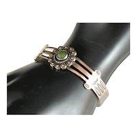 Vintage Fred Harvey Era Copper Silver Royston Green Turquoise Cuff Bracelet