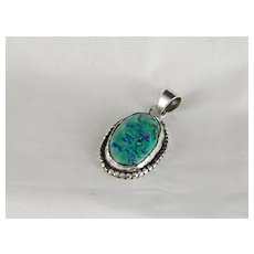 Vintage Sterling Silver Pendant with Beautiful Azurmalachite Gemstone