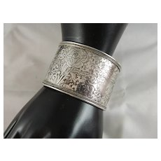 Beautiful Vintage Bold 42.5 MM Wide Engraved Sterling Silver Cuff Bracelet