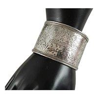 Beautiful Vintage Bold 42.5 MM Wide Engraved Sterling Silver Cuff Bracelet
