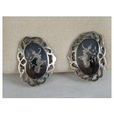 Vintage Sterling Silver Enamel Niello Siam Dancing Goddess Earrings