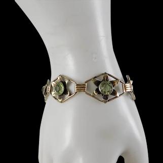 Vintage Sterling Silver Gold Fill 1940's Link Bracelet