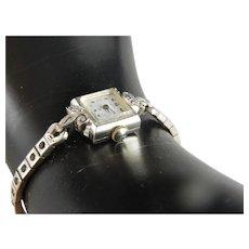 Vintage 14 K White Gold Lady Hamilton Wrist Watch