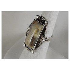 Beautiful Vintage Sterling Silver Laguna Agate Handcrafted Ring