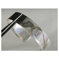 Vintage Unique Acid Etched Floral Sterling Silver Cuff Bracelet