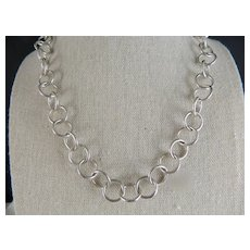 Vintage Sterling Silver 12 MM Wide 16 In. Round Link Necklace