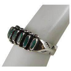 Vintage Royston Green Turquoise And Sterling Silver Fred Harvey Era Ring