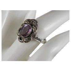 Vintage Art Nouveau Style Amethyst Sterling Marcasite Ring Size 6 1/2.