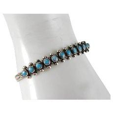 Vintage Sterling Silver Turquoise Fred Harvey Era Bell Trading Post Snake Eye Bracelet