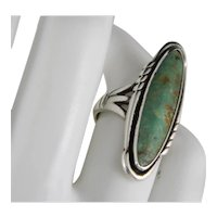Vintage Large Quality Bell Trading Post Sterling Silver Royston Green Turquoise Ring