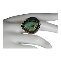 Vintage Large Navajo Sterling Silver Royston Green Turquoise Ring Size 9