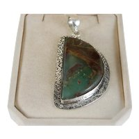 Vintage Extra Large 2 3/4 Inch. Apple Green Chrysoprase In Matrix Sterling Silver Pendant