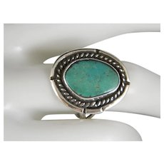 Vintage Beautiful Classic Navajo Sterling Silver Royston Green Turquoise Ring