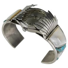 Vintage Native American Old Pawn Zuni Eagle Wing Watch Cuff Bracelet With 1961 Benrus Wrist Watch