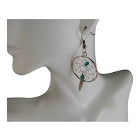 Vintage Sterling Silver And Turquoise Dream Catcher Earrings