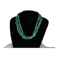 Vintage Southwest Three Strand Navajo Style Three Strand Turquoise Small Nugget Necklace