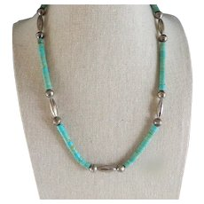 Vintage Old Pawn Sterling Silver And Santo Domingo Green Turquoise Heishi Bead Navajo Necklace