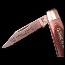 Vintage  N&W 1987 Railroad Safety Award Schrade Old Timer Knife